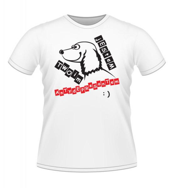 Koszulki z nadrukiem - Pies antydepresant